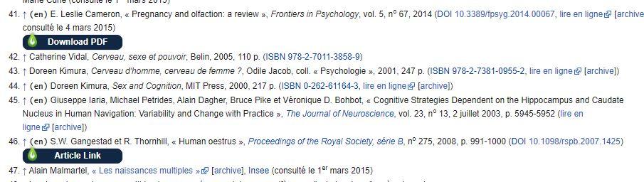 Capture ecran de références d'une page wikipedia renvoyant vers des ressources en ligne des BU de poitiers, grâce à l'extension Libkey Nomad